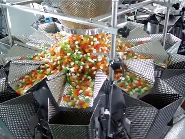 sac de remplissage vertical 14 peseuses et emballage 2 en 1 machine pour flocons de riz croquants